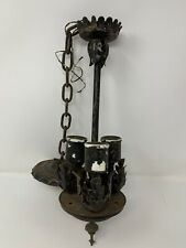 ANTIQUE 1920'S GOTHIC REVIVAL MEDIEVAL HANGING CHANDELIER LIGHT FIXTURE