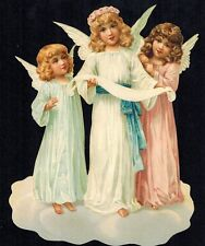 SINGING TRIO ANGEL CHRISTMAS ORNAMENT GERMANY EMBOSSED SINGLE PAPER ORNAMENT
