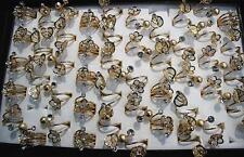 Wholesale Bulk Lots 28pcs Rhinestone Flower/Leaf Design Women Gold P Tail Rings