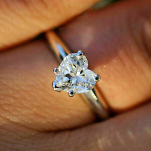 1.90Ct Heart Shaped Diamond Solitaire Engagement Wedding Ring 14k White Gold