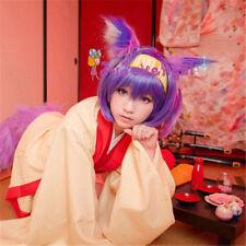 No Game No Life Cosplay Hatsuse Izuna Purple Short Hair Wig + Cap Prop Girl 35cm