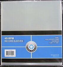 500 NEW CSP PLASTIC 45 RPM RECORD SLEEVES 2 MIL 7 3/8 x 7 5/8""