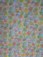 """Baby Print cotton fabric with Abcs Rattles Diaper Pins Fabric Vtg Rare 1Y32"""""""