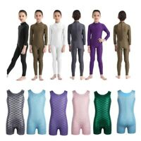 Girls Long Sleeve Ballet Dance Leotard Gymnastics Jumpsuit Kid Dancewear Costume