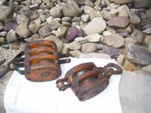 Vintage Wooden Block & Tackle 3 Steel Wheel Pulley, Medium Size Set By Anvil