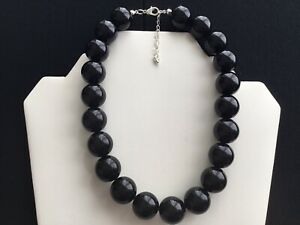 Women's Chunky Black Bead Choker Necklace