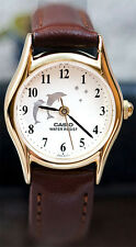Casio LTP-1094Q-7B9 Ladies Analog Watch Dolphins on Face Brown Leather Band New