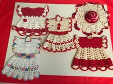 4 tiny dresses wh & red vint hand crocheted 40's kitchen decor collector 5pc lot