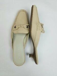 NEW $89 Nine West 9 Beige Suede Leather Loafer-style Kitten Heels Mules NWOB