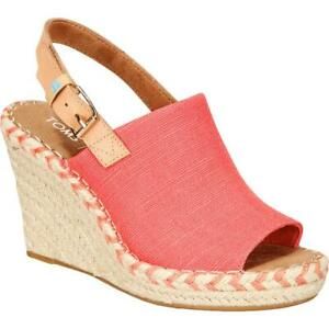 Toms Womens Monica Pink Canvas Wedge Heels Shoes 5 Wide (C,D,W) BHFO 1722