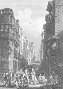 Malta, VALLETTA STREET GIOVANNI CHURCH SAINT JOHN ~ Old 1841 Art Print Engraving
