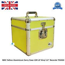 "1 X NEO Yellow Aluminium DJ Storage Carry Case 100 LP Vinyl 12"" Records TOUGH"
