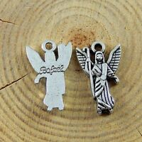 39pcs Antiqued Silver Tone Alloy Angel Pendant Charms Crafts Jewelry Findings