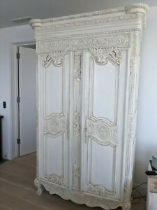 Ornate Armoire, large white with shelves