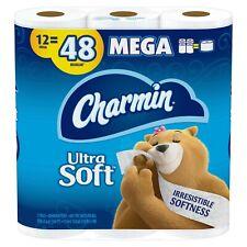 Charmin Bathroom Bath Tissue Toilet  Paper 12 Mega Rolls = 48 Regular Ultra Soft