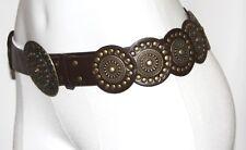 GOTHIC BOHO Cyber Medallion TRIBAL Gypsy Faux Leather Steampunk Hippie Belt Sash