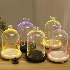 More details for glass display cloche wooden base inc flower plant bell jar dome led light decor
