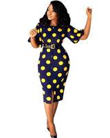 Women's Fashion Short Sleeves Polka Dot Print Casual Party Bodycon OL Dress