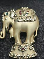 Signed AJC Designer Multicolor Rhinestone Goldtone Elephant Vintage Brooch Pin