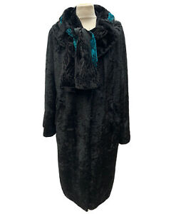 UNIQUE BESPOKE VINTAGE 1950S-60S JET BLACK VELOUR EVENING COAT  WOMEN'S UK 12/14