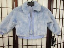 Girl Faux Fur Blue Winter Jacket w/Reverse Poly & Leather 3-4Yr. Never Worn