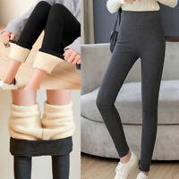 Women Winter Thermal Super Thick Warm Wool Fleece Stretch Pants Slim Leggings