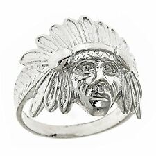 Men's .925 Sterling Silver Indian Chief Head, Chopper Biker Motorcycle Ring
