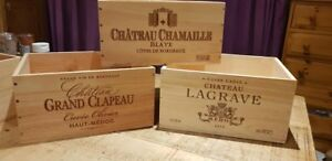 3 PACK FRENCH WOODEN WINE CRATE BOXES: WORK CHRISTMAS HAMPER GIFT BOX PRESENT..