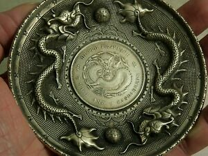 VERY INTERESTING OLD CHINESE WHITE METAL COIN DISH DRAGON DESIGN - L@@K - RARE
