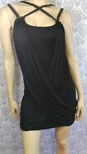 COCO & Tashi Mini Dress Tunic Top Black Club Wear Faux Leather Straps SZ XL