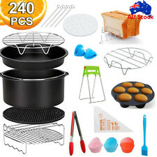 "130PC/Set Air Fryer Accessories 8"" Rack Cake Pizza Oven Barbecue Frying Pan Tray"