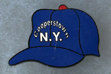 """COOPERSTOWN NEW YORK HOME OF BASEBALL BLUE CAP LOGO 1.25"""" SOUVENIR PIN BUTTON"""