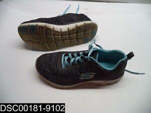 Size 8W Women's Skechers Black/Light Blue Flex Appeal 2.0 Sneakers 12753W