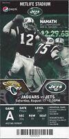2013 NFL JAGUARS @ NEW YORK JETS FULL UNUSED FOOTBALL TICKET - NAMATH PHOTO