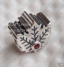100% Authentic PANDORA Canada MAPLE LEAF Red Sinthetic RUBY Charm~Bead 791215SRU