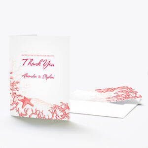 24 Reef Coral Beach Theme Personalized Wedding Thank You Notes