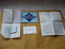 Collection of Vintage Ephemera From 1958 Of The Somerset Hotel , Southsea
