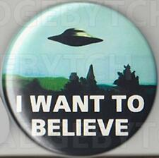 I WANT TO BELIEVE ROUND FRIDGE MAGNET - X-Files CLASSIC COOL!