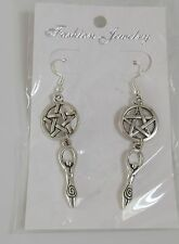 Goddess Earrings Pentacle Tibetan silver wiccan pagan Gaia jewellery + gift bag