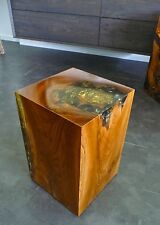 Hocker Holz,Teak Wurzel m. Kunstharz Resin, Podest, Säule, Beistelltisch, Quader