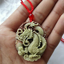 Fashion Natural Jade Dragon Pendant Necklace Hand-Carved Lucky Amulet Gift Hot