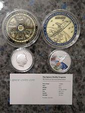 Space Shuttle Medaille mit GEFLOGENEM Material! Im Set! Plus Münze! 63mm, 75g!