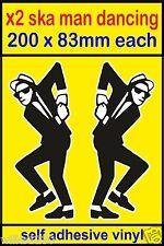 2 SKA man dancing self adhesive decals 2 tone RUDE BOY Mod Scooter Vespa vw van