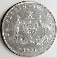1926 AUSTRALIA George V, silver  Florin, Grading VERY FINE.