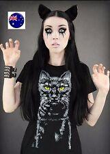Women Girl Short Sleeve Halloween Kitty Cat pussy Costume Party Tops Tee T-shirt