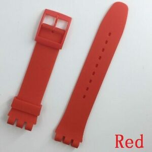 New Wrist Watch Band Strap For Swatch Replacement 19mm Rubber Silicone Watchband