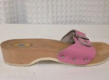 Vintage Dr. Scholl Womens Pink Wood Sandals *Made in Italy*