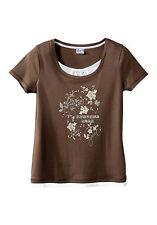 Shirt Kurzarm braun-weiß modischer Druck 2 in 1 Look Sheego Gr. 56/58