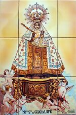 "Mural Hand Painted LADY of Guadalupe "" 9 tiles Spanish ceramic"