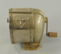 Vintage Hand-Crank Boston Model L Metal Pencil Sharpener Desk Mount / Wall Mount